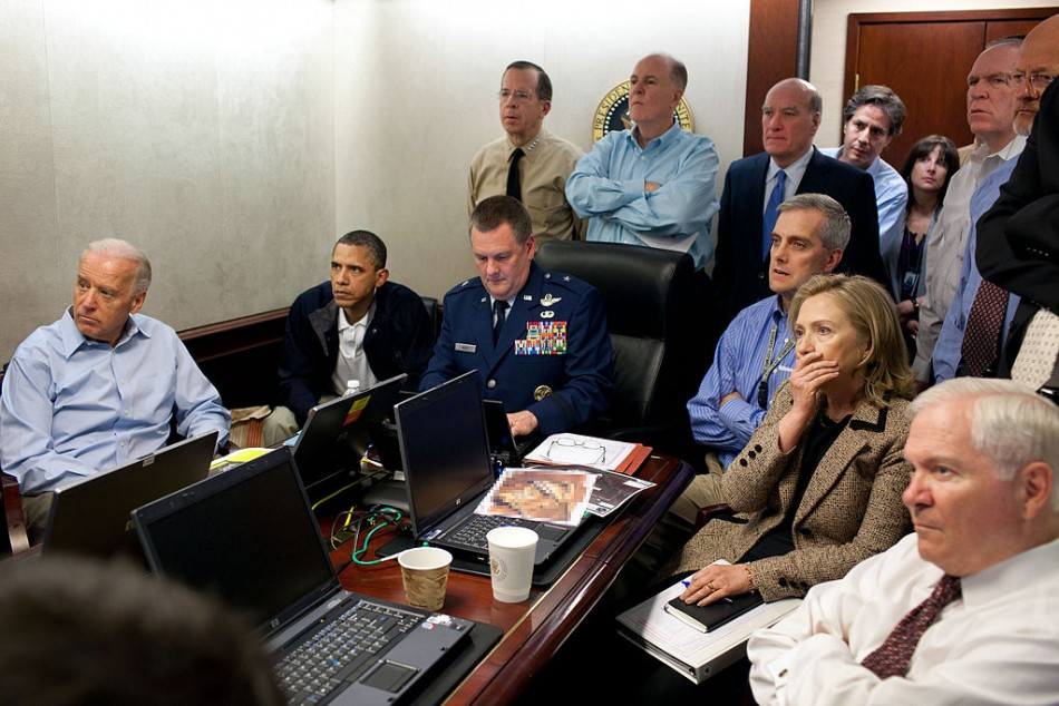 Photo: Pete Souza, Official White House Photographer, 4.06 pm EST, 1 May 2011, Situation room for bin Laden raid