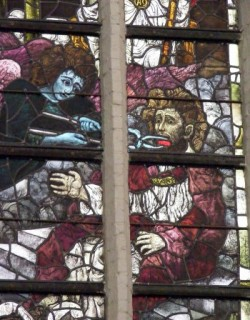Torture scene, Stained Glass, Old Church, Delft 2007