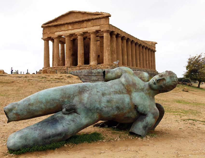 Concordia Temple with modern sculpture, Valley of the Temples, Agrigento, Sicily
