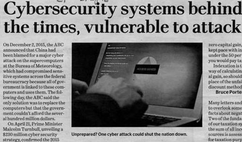 2 May 2016 Canberra Times Letters Cybersecurity