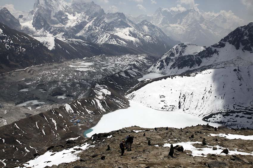 Gokyo Village the glacier and the mountains towards Everest from Gokyo Ri walk