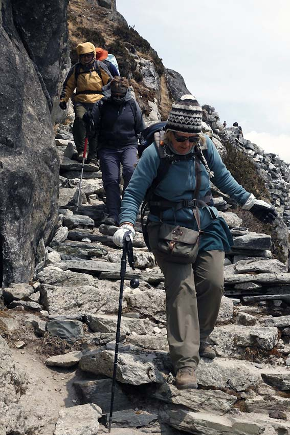 Walking away from Gokyo Lakes, the 'death steps'