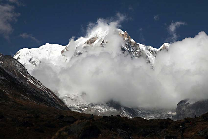 Annapurna South covered in cloud