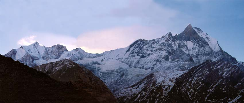 Heavily modified panorama of Machhapuchhre or Fishtail from above MBC