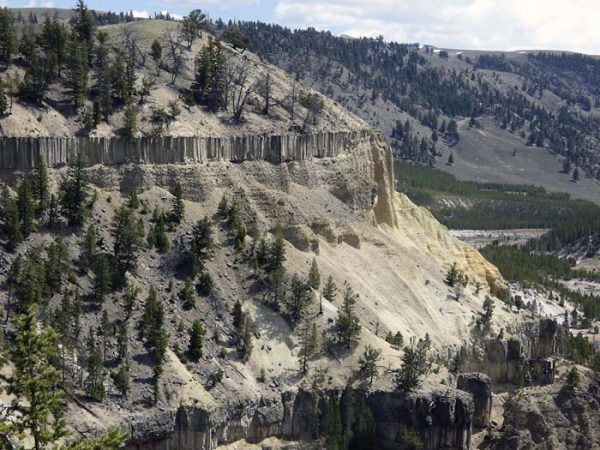 Columnar Rock Formations in Yellowstone Canyon