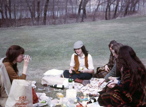 Illegal Picnic on Campus beside Red River, Spring 1973