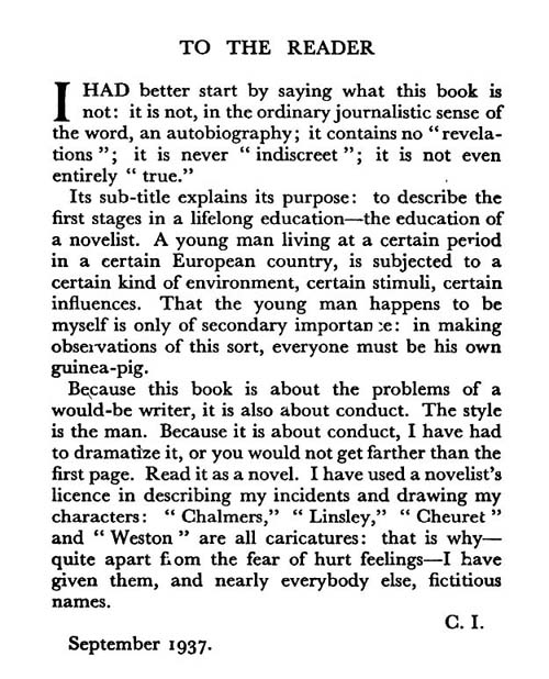To the Reader, Christopher Isherwood, Lions & Shadows 1937
