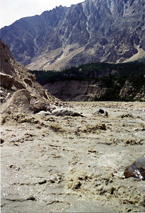 The Hunza River in Spate, Karimabad